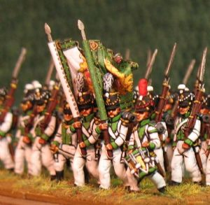 15mm, Napoleonic Saxon Fusiliers, Green Facings AB 24 Figures